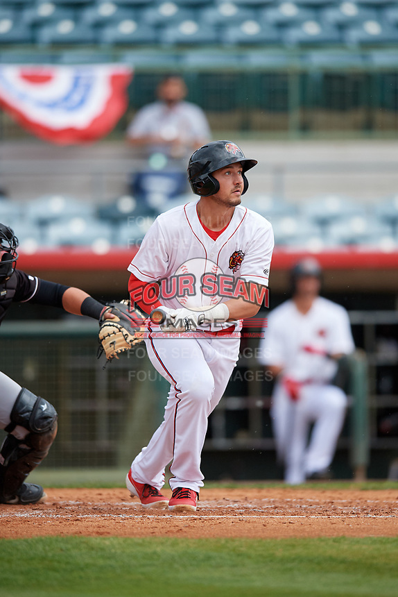 Florida Fire Frogs Drew Lugbauer (17) at bat during a Florida State League game against the Jupiter Hammerheads on April 8, 2019 at Osceola County Stadium in Kissimmee, Florida.  Florida defeated Jupiter 7-6 in ten innings.  (Mike Janes/Four Seam Images)