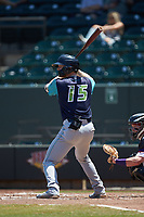 Mitch Reeves (15) of the Lynchburg Hillcats at bat against the Winston-Salem Rayados at BB&T Ballpark on June 23, 2019 in Winston-Salem, North Carolina. The Hillcats defeated the Rayados 12-9 in 11 innings. (Brian Westerholt/Four Seam Images)