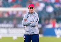 PHILADELPHIA, PA - AUGUST 29: Jill Ellis of the United States watches her team prior to a game between Portugal and the USWNT at Lincoln Financial Field on August 29, 2019 in Philadelphia, PA.
