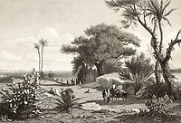 Old engraving shows image of Marsala surroundings, Italy. Original drawn by Henri De Chacaton, engraved by Paul Girardet. Published in France, 1841