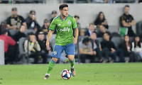 LOS ANGELES, CA - OCTOBER 29: Cristian Roldan #7 of the Seattle Sounders FC moves with the ball during a game between Seattle Sounders FC and Los Angeles FC at Banc of California Stadium on October 29, 2019 in Los Angeles, California.