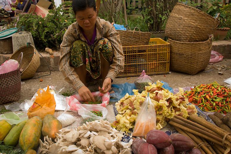 A woman selling vegetables at the market in Luang Prabang, Laos.