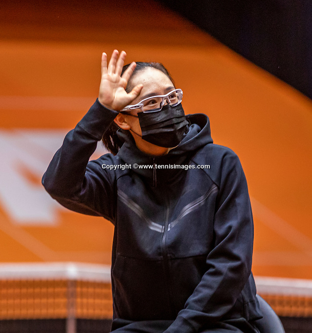 Den Bosch, The Netherlands, April 15, 2021,    Maaspoort, Billy Jean King Cup  Netherlands -  China : Draw , Sai Say Zheng (CHN)  <br /> Photo: Tennisimages/Henk Koster