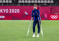 KASHIMA, JAPAN - AUGUST 2: Alyssa Naeher #1 of the USWNT stands on the field after a game between Canada and USWNT at Kashima Soccer Stadium on August 2, 2021 in Kashima, Japan.