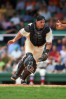 Birmingham Barons catcher Adrian Nieto (6) retrieves a pitch in the dirt during the 20th Annual Rickwood Classic Game against the Jacksonville Suns on May 27, 2015 at Rickwood Field in Birmingham, Alabama.  Jacksonville defeated Birmingham by the score of 8-2 at the countries oldest ballpark, Rickwood opened in 1910 and has been most notably the home of the Birmingham Barons of the Southern League and Birmingham Black Barons of the Negro League.  (Mike Janes/Four Seam Images)