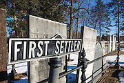 First settler headstone at Forest Hill Cemetery in East Derry, New Hampshire USA during the winter months.