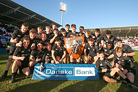 Monday 19th March 2018 |  Ulster Schools Cup Final 2018<br /> <br /> John McKee and his Campbell team with the famous trophy after the 2018 Ulster Schools Cup Final between the Royal School Armagh and Campbell College at Kingspan Stadium, Ravenhill Park, Belfast, Northern Ireland. Photo by John Dickson / DICKSONDIGITAL