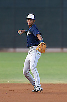 Jake Gatewood #18 of the AZL Brewers during a game against the AZL Reds at the Cincinnati Reds Baseball Complex on July 5, 2014 in Goodyear, Arizona. (Larry Goren/Four Seam Images)