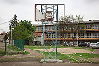 Serbia. Leskovac is a city and the administrative center of the Jablanica District in southern Serbia. «Petar Tasir» Elementary School. The school's students are all from Romani ethnicity. A broken basketball backboard on the school's playground. The Romani (also spelled Romany) or Roma, Roms or Gypsies, are a traditionally itinerant ethnic group. The Pestalozzi Children's Foundation (Stiftung Kinderdorf Pestalozzi) is advocating access to high quality education for underprivileged children. It supports in Leskovac a project called» Together in transition».18.4.2018 © 2018 Didier Ruef for the Pestalozzi Children's Foundation