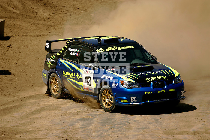 Driver Ken Block and co-driver Alex Gelsomino come around a turn near the finish line while competing in the Rally Car Race finals during X-Games 12 in Los Angeles, California on August 5, 2006.
