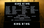 """Lobby cast board for the Broadway Opening Night Curtain Call for """"King Kong - Alive On Broadway"""" at the Broadway Theater on November 8, 2018 in New York City."""