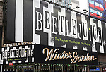 """Theatre Marquee for """"Beetlejuice"""" Celebrates 100th Performance on Broadway with Big Sandy the Sandworm and Shrunken Head Guy at the Winter Garden Theatre on July 23, 2019 in New York City."""
