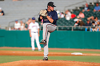 Mississippi Braves starting pitcher Bryce Elder (58) delivers a pitch to the plate against the Tennessee Smokies at Smokies Stadium on July 16, 2021, in Kodak, Tennessee. (Danny Parker/Four Seam Images)