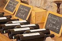 Vendanges Tardive Grenache 2000, Rarissime 2003 27 euro, Gabinele Tradition 15 euro. Domaine Mas Gabinele. Faugeres. Languedoc. The wine shop and tasting room. France. Europe. Bottle.