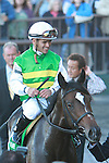 10 02 2010: Longshot Ave with Javier Dastellano pull the upset in the 33rd Running of the FLower Bowl, at 1 1/4 miles on the turf, Fillies & Mares,3-year olds & up, Belmont Park, Elmont, NY. Trainer Roger Attfield.  Owners Three Chimneys Racing, Trevor Harris