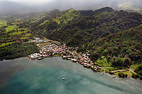 aerial photograph of Portobello, Colon, Panama, Santiago Battery architectural site at right