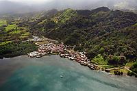 aerial photograph of Portobello, Colon, Panama, Santiago Battery architectural site at right