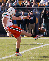 Miami punter Zach Feagles. The Pitt Panthers upset the undefeated Miami Hurricanes 24-14 on November 24, 2017 at Heinz Field, Pittsburgh, Pennsylvania.