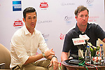 Luis Garcia (L) and Robbie Fowler (R) during the Football Players Press Conference on the sidelines of the World Celebrity Pro-Am 2016 Mission Hills China Golf Tournament on 22 October 2016, in Haikou, China. Photo by Marcio Machado / Power Sport Images