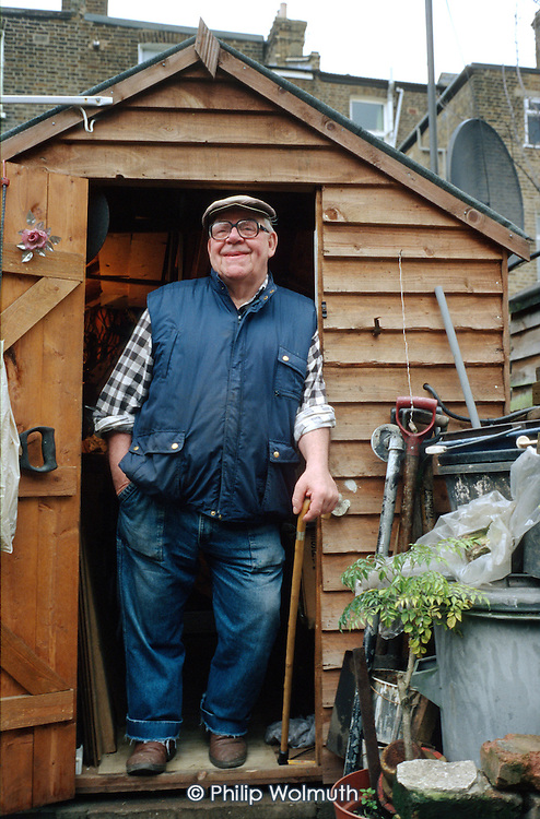 Alf Chowles, a tenant of resident-controlled Walterton and Elgin Community Homes, in his garden shed on Walterton Estate, North Paddington, London.