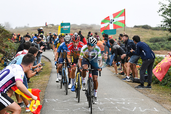 White Jersey Egan Bernal (COL) Ineos Grenadiers, Red Jersey Primoz Roglic (SLO) and Sepp Kuss (USA) Jumbo-Visma, Miguel Angel Lopez Moreno (COL) and Enric Mas (ESP) Movistar Team in the main bunch during Stage 18 of La Vuelta d'Espana 2021, running 162.6km from Salas to Alto del Gamoniteiru, Spain. 2nd September 2021.    <br /> Picture: Luis Angel Gomez/Photogomezsport | Cyclefile<br /> <br /> All photos usage must carry mandatory copyright credit (© Cyclefile | Luis Angel Gomez/Photogomezsport)