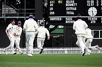 Otago players celebrate victory during day four of the Plunket Shield match between the Wellington Firebirds and Otago Volts at Basin Reserve in Wellington, New Zealand on Sunday, 8 November 2020. Photo: Charley Lintott / lintottphoto.co.nz