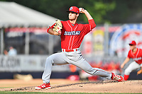 Lakewood BlueClaws starting pitcher Nick Fanti (20) delivers a pitch during a game against the  Asheville Tourists at McCormick Field on June 3, 2017 in Asheville, North Carolina. The Tourists defeated the BlueClaws 10-7. (Tony Farlow/Four Seam Images)