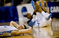 North Carolina's Tyler Hansbrough stretches during the NCAA Basketball Men's East Regional at Time Warner Cable Arena in Charlotte, NC.