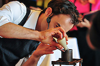 MELBOURNE, 3 MAY 2008 - Con Haralambopoulos competing in the Open Heats at the 2008 Detpak Australian Barista Championship at Docklands, Melbourne. Photo Sydney Low