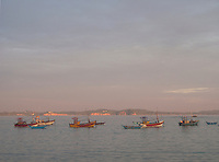 Fishing boats at anchor close to the shore in the evening sun