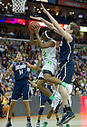 Apr 7, 2013; Jewell Loyd goes up to the net as Connecticut Breanna Stewart blocks her shot during the semifinals of the 2013 NCAA women's basketball Final Four at the New Orleans Arena. Connecticut defeated Notre Dame 83 to 65. Photo by Barbara Johnston/ University of Notre Dame