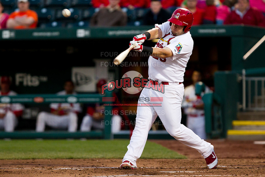 Matthew Adams (25) of the Springfield Cardinals crushes a ball for a home run during a game against the Tulsa Drillers on April 29, 2011 at Hammons Field in Springfield, Missouri.  Photo By David Welker/Four Seam Images.