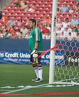 Real Salt Lake Goalkeeper Nick Rimando (18) looks on as his team falls to FC Dallas following two late goals. Real Salt Lake vs FC Dallas at Pizza Hut Park Frisco, Texas May-24-2008 Final Score 1-2