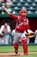 James Kottaras (16) of the Bradley Braves throws to first during a game against the Missouri State Bears on May 13, 2011 at Hammons Field in Springfield, Missouri.  Photo By David Welker/Four Seam Images