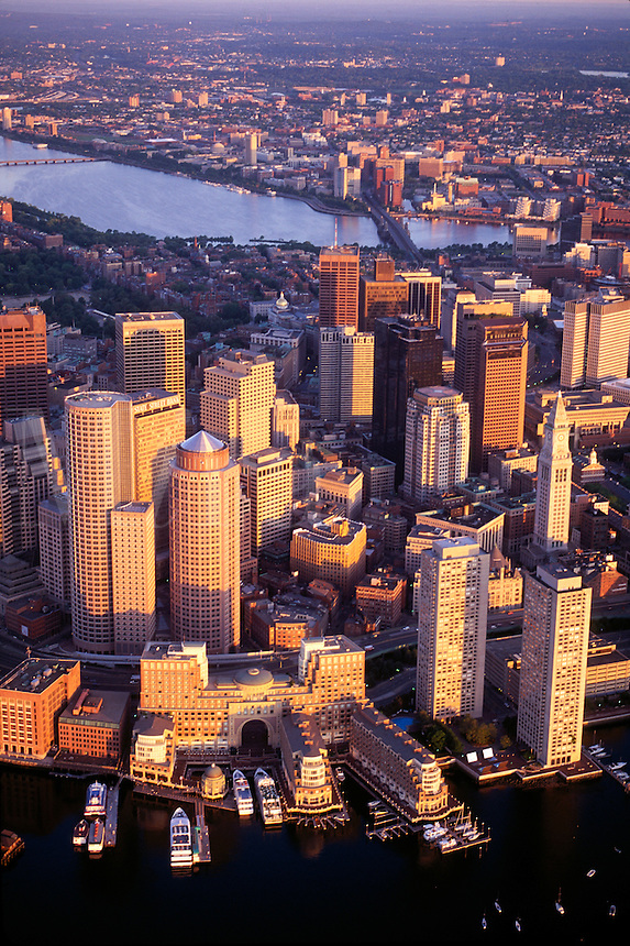 Aerial view from harbor, Boston, MA