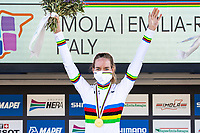 Picture by Alex Whitehead/SWpix.com - 26/09/2020 - Cycling - UCI 2020 Road World Championships IMOLA - EMILIA-ROMAGNA ITALY - Women Elite Road Race - Anna Van Der Breggen of The Netherlands on the podium after winning the Women's Elite Road Race. - SANTINI
