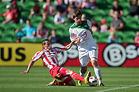 MELBOURNE, AUSTRALIA - January 2:  Adrian Zahra of the Heart and Andre Kilian of the Fury compete for the ball during the round 21 A-League match between Melbourne Heart and North Queensland Fury at AAMI Park on January 2, 2011 in Melbourne, Australia. (Photo by Sydney Low / Asterisk Images)