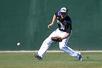 Kentucky Wesleyan Panthers outfielder Brandon Sigler (38) during a game against Slippery Rock University at Jack Russell Stadium on March 14, 2014 in Clearwater, Florida.  Slippery Rock defeated 18-13.  (Mike Janes/Four Seam Images)