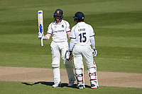 Rob Yates of Warwickshire raises his bat to celebrate reaching his fifty during Warwickshire CCC vs Essex CCC, LV Insurance County Championship Group 1 Cricket at Edgbaston Stadium on 25th April 2021