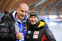 SPEEDSKATING: ERFURT: 20-01-2018, ISU World Cup, Matthias Grosse & Claudia Pechstein (GER), photo: Martin de Jong