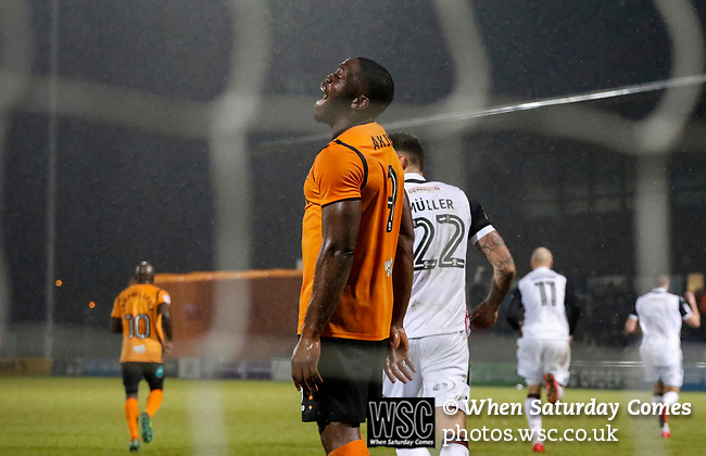 Barnet 2 Morecambe 0, 16/12/2017. The Hive, League Two. Barnet's John Akinde shouts in frustration after missing a penalty. Photo by Paul Thompson.
