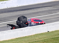 Sep 5, 2020; Clermont, Indiana, United States; NHRA pro mod driver Khalid Albalooshi gets sideways in the shutdown area during qualifying for the US Nationals at Lucas Oil Raceway. Mandatory Credit: Mark J. Rebilas-USA TODAY Sports