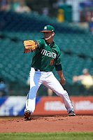 Miami Hurricanes starting pitcher Jeb Bargfeldt (19) in action against the Wake Forest Demon Deacons in Game Nine of the 2017 ACC Baseball Championship at Louisville Slugger Field on May 26, 2017 in Louisville, Kentucky. The Hurricanes defeated the Demon Deacons 5-2. (Brian Westerholt/Four Seam Images)