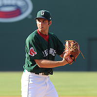 Pitcher Dylan Chavez (12) of the Greenville Drive in a game against the Asheville Tourists on Sunday, August 26, 2012, at Fluor Field at the West End in Greenville, South Carolina. Chavez was a 14th-round pick out of the University of Mississippi by the Boston Red Sox in the 2012 First-Year Player Draft. Greenville won, 5-4. (Tom Priddy/Four Seam Images)