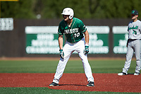 Zach Jarrett (10) of the Charlotte 49ers takes his lead off of second base against the Marshall Thundering Herd at Hayes Stadium on April 23, 2016 in Charlotte, North Carolina. The Thundering Herd defeated the 49ers 10-5.  (Brian Westerholt/Four Seam Images)
