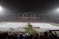 The USA and Costa Rica soccer teams stand for the national anthem at Dick's Sporting Good Park in Commerce City, CO before the USA Men's National Team's World Cup Qualifier against Costa Rica on March 22, 2013.
