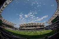 LOS ANGELES, CA - AUGUST 22: The Los Angeles Galaxy and Los Angeles Football Club in action at empty Banc of California stadium during a game between Los Angeles Galaxy and Los Angeles FC at Banc of California Stadium on August 22, 2020 in Los Angeles, California.