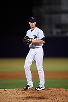 Tampa Yankees relief pitcher Hobie Harris (26) gets ready to deliver a pitch during a game against the Fort Myers Miracle on April 12, 2017 at George M. Steinbrenner Field in Tampa, Florida.  Tampa defeated Fort Myers 3-2.  (Mike Janes/Four Seam Images)