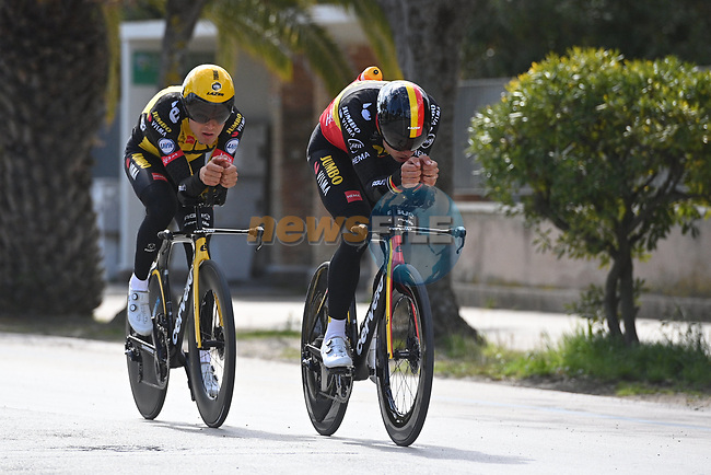 Belgian Champion Wout Van Aert (BEL) and Team Jumbo-Visma team mate recon Stage 7 of Tirreno-Adriatico Eolo 2021, an individual time trial running 10.1km around San Benedetto del Tronto, Italy. 16th March 2021. <br /> Photo: LaPresse/Marco Alpozzi | Cyclefile<br /> <br /> All photos usage must carry mandatory copyright credit (© Cyclefile | LaPresse/Marco Alpozzi)