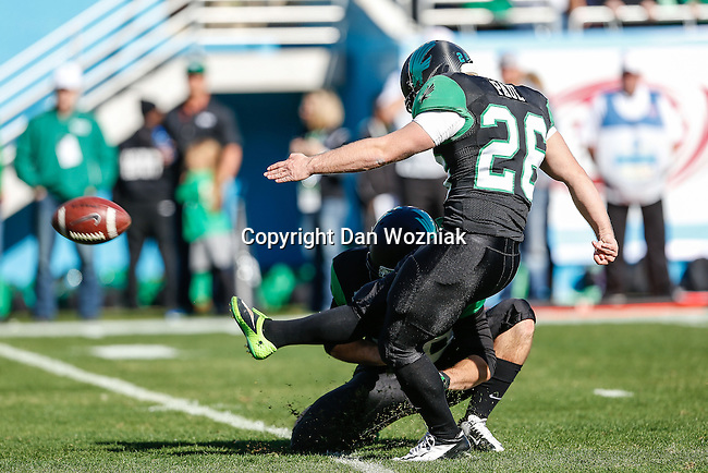 North Texas Mean Green kicker Zach Paul (26) in action during the Heart of Dallas Bowl game between the North Texas Mean Green and the UNLV Rebels at the Cotton Bowl Stadium in Dallas, Texas. UNT defeats UNLV 36 to 14.